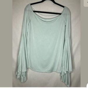 Free Peole We The Free Light Green Bell Sleeve Top